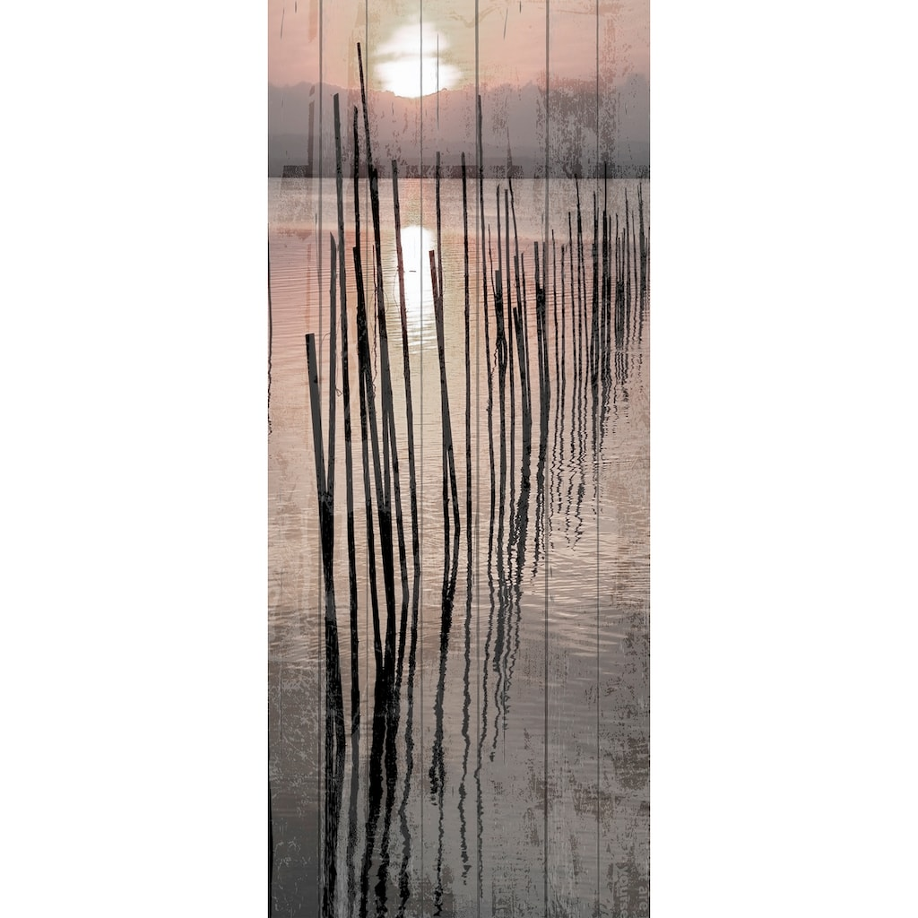 queence Holzbild »Sonnenuntergang See«, 80x40 cm