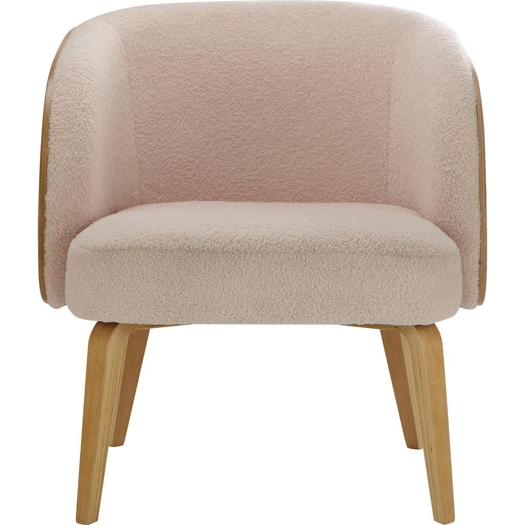 andas Sessel »Alzey«, mit Beinen aus Bugholz und einem pflegeleichten Strukturstoff, Sitzhöhe 46 cm, Cocktailsessel