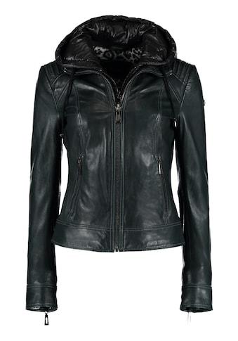 DNR Jackets Lederjacke, mit Kapuze und Steppungen kaufen
