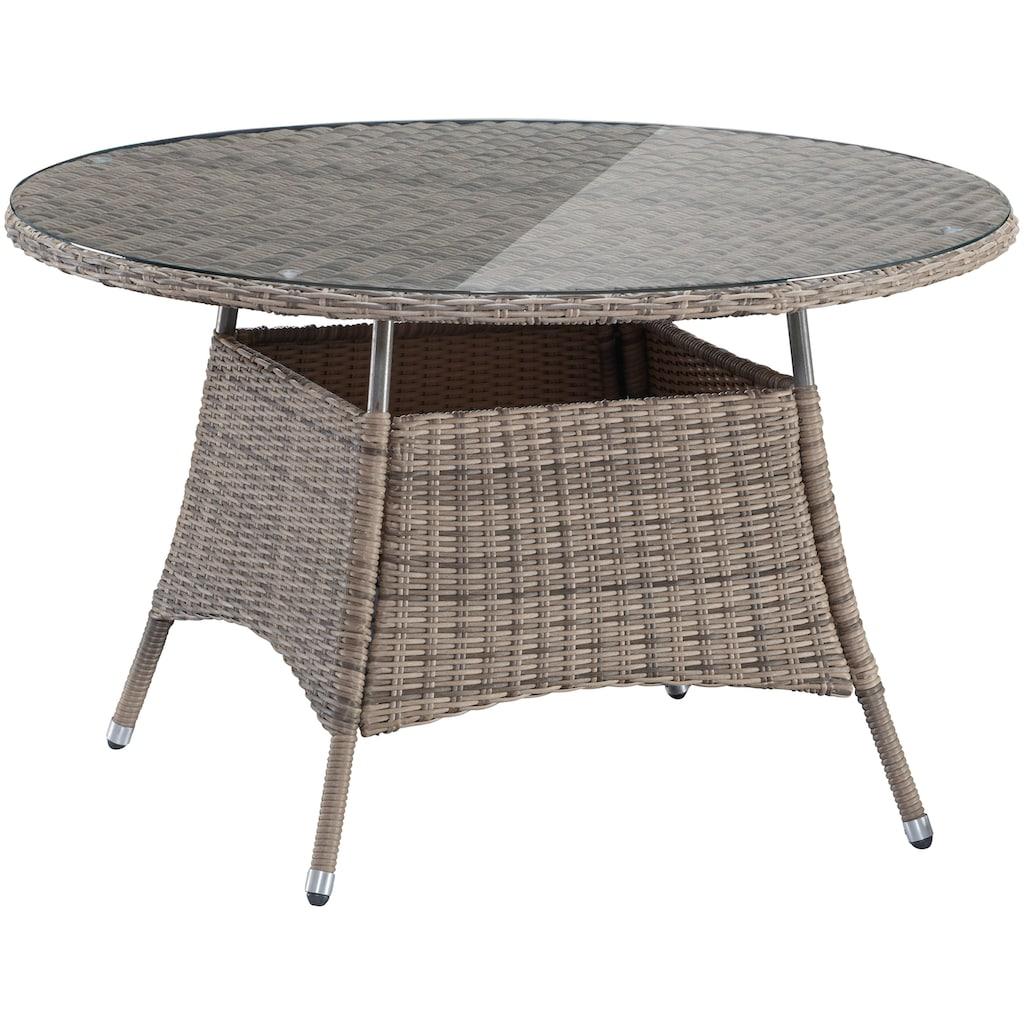 MERXX Gartenmöbelset »Riviera«, 9-tlg., 4 Hochlehner, Tisch Ø 120 cm, Polyrattan