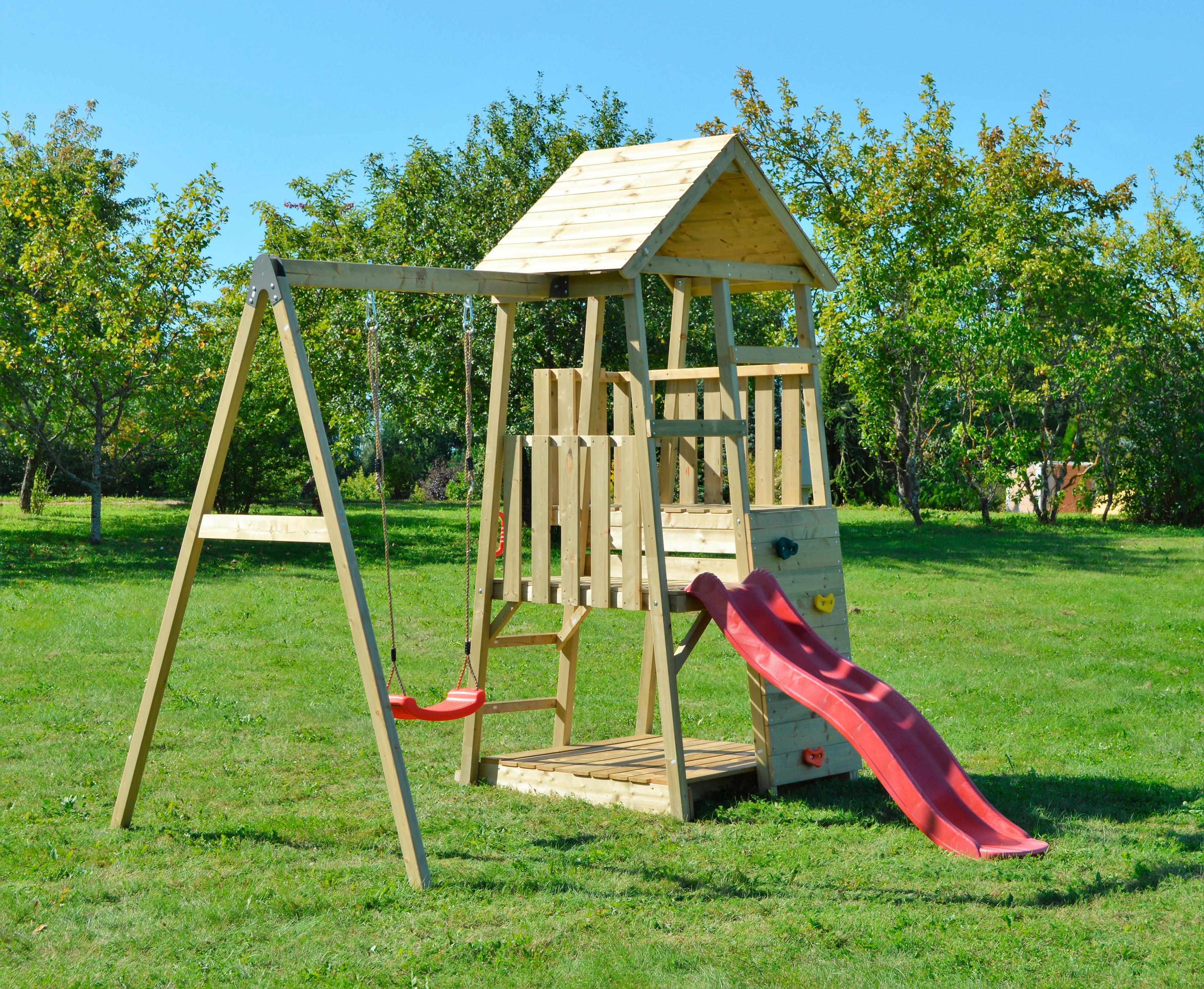 Kleiner Spielturm Panda mit Schaukel und Rutsche*