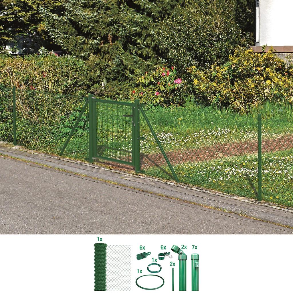 GAH Alberts Maschendrahtzaun, 175 cm hoch, 15 m, grün beschichtet, zum Einbetonieren