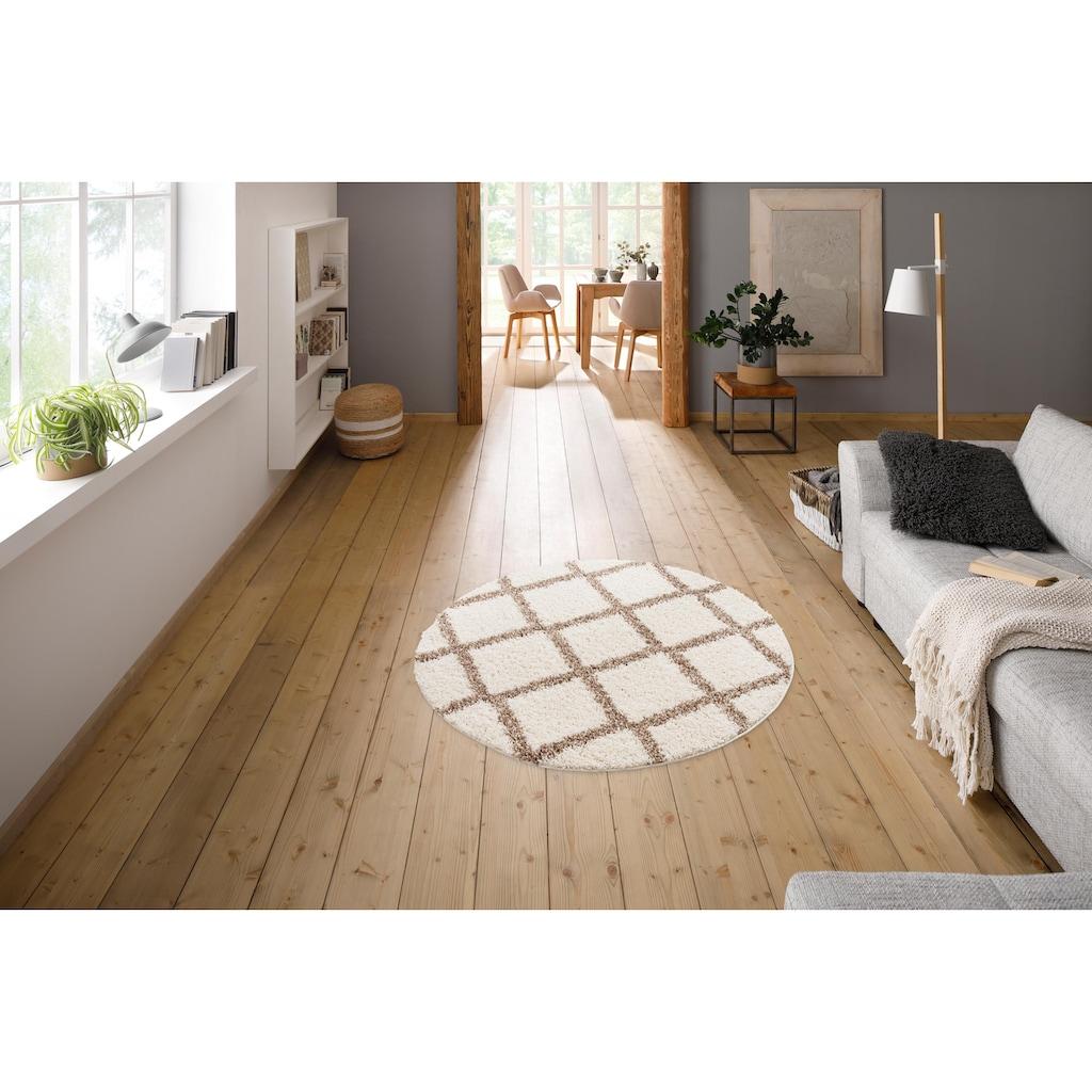my home Hochflor-Teppich »Linz«, rund, 31 mm Höhe, Rauten Design, Wohnzimmer