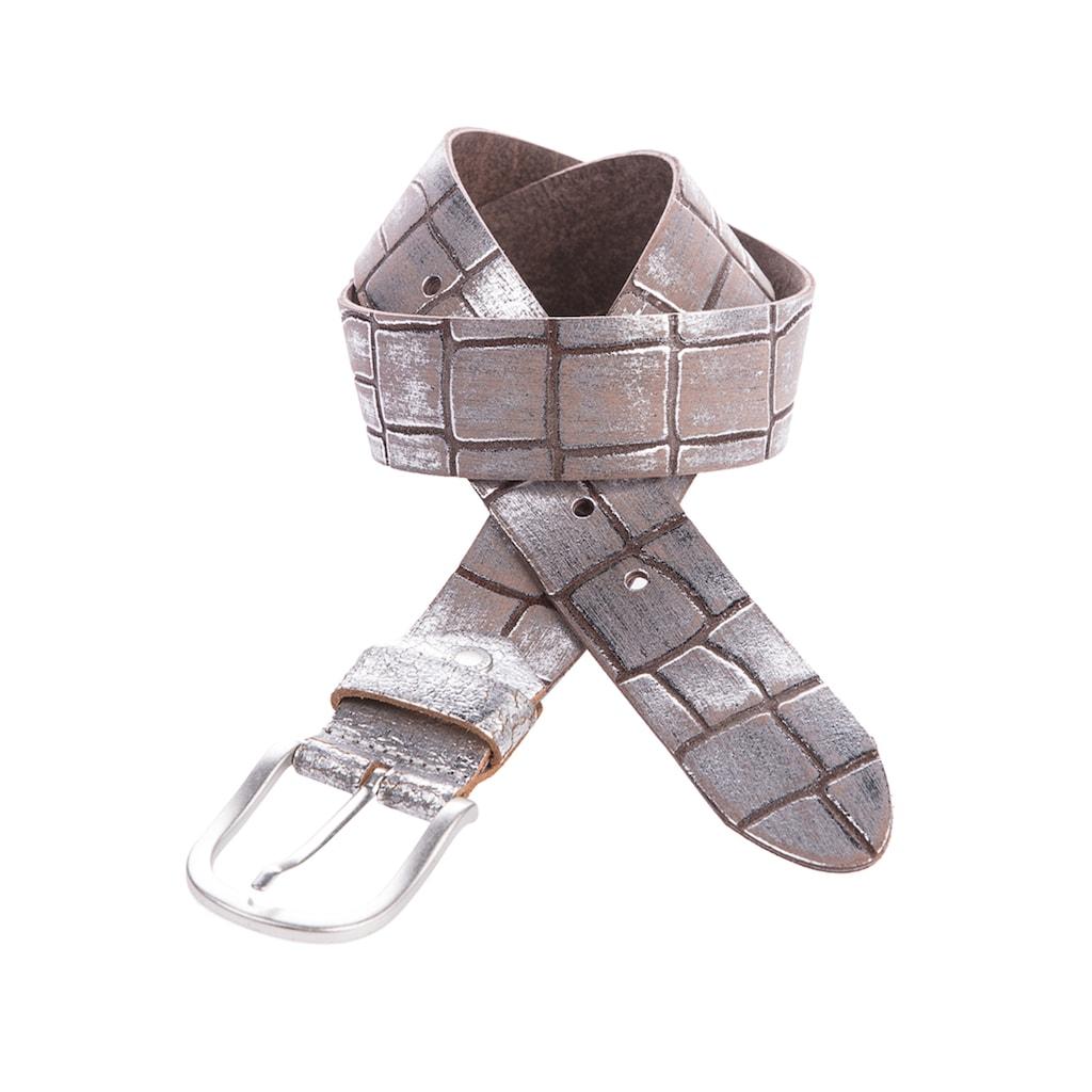 Cipo & Baxx Ledergürtel, mit Metallic-Effekt