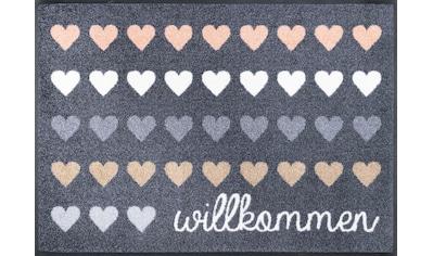 wash+dry by Kleen-Tex Fußmatte »Willkommen Herzen«, rechteckig, 7 mm Höhe,... kaufen