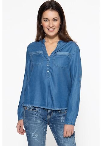 ATT Jeans Schlupfbluse »Selena«, mit offenen Kanten und Stickereien kaufen