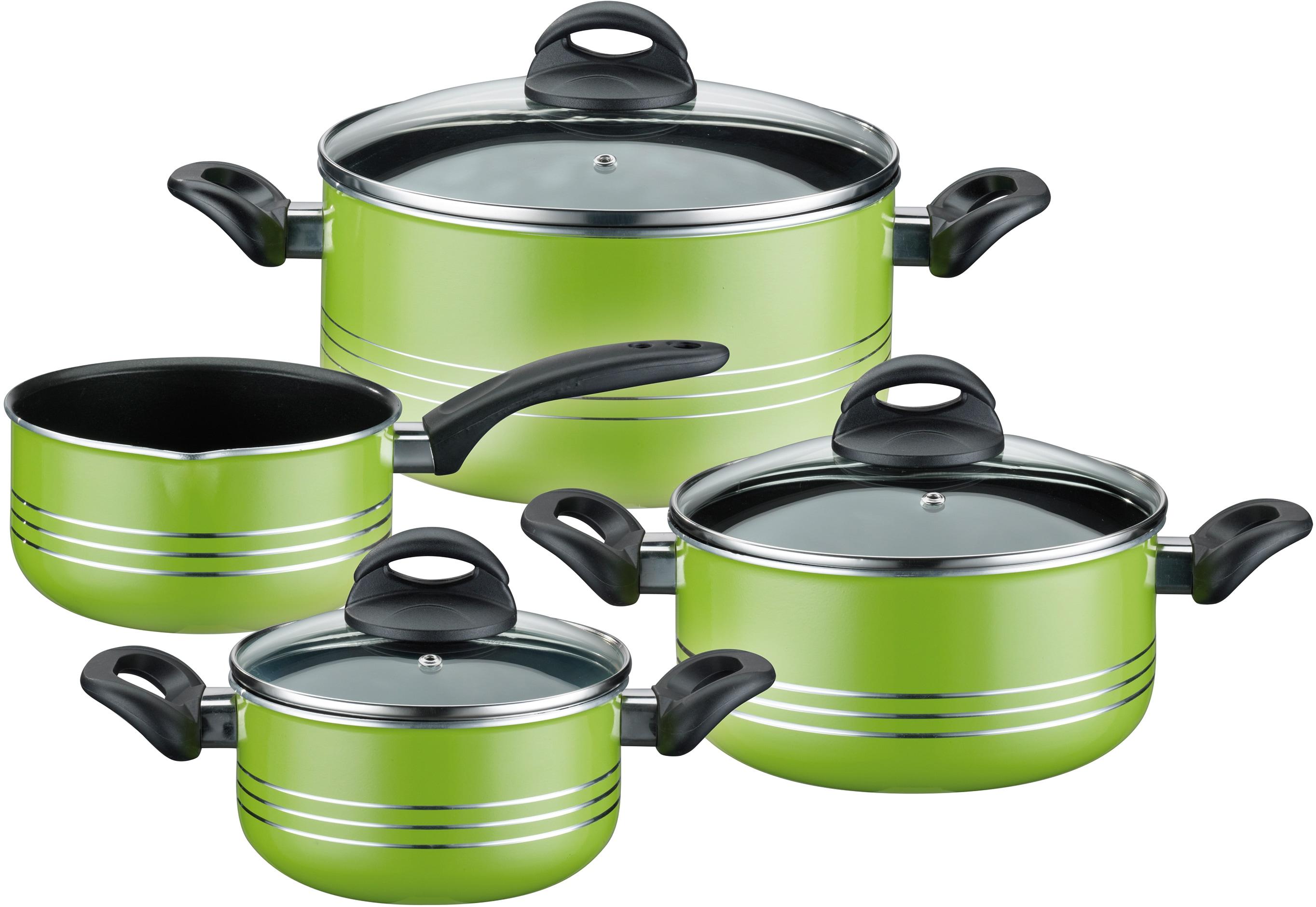 GSW Topf-Set Milano color, Leichtmetall-Legierung, (Set, 7 tlg.), Induktion grün Topfsets Töpfe Haushaltswaren Topf
