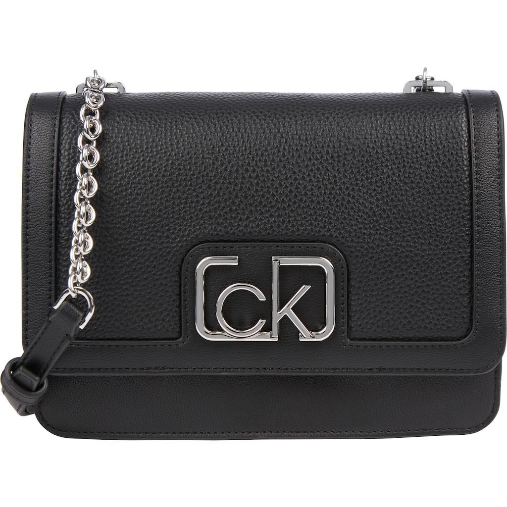 Calvin Klein Umhängetasche »FLAP SHOULDER BAG MD«, mit silberfarbenen Kettendetails