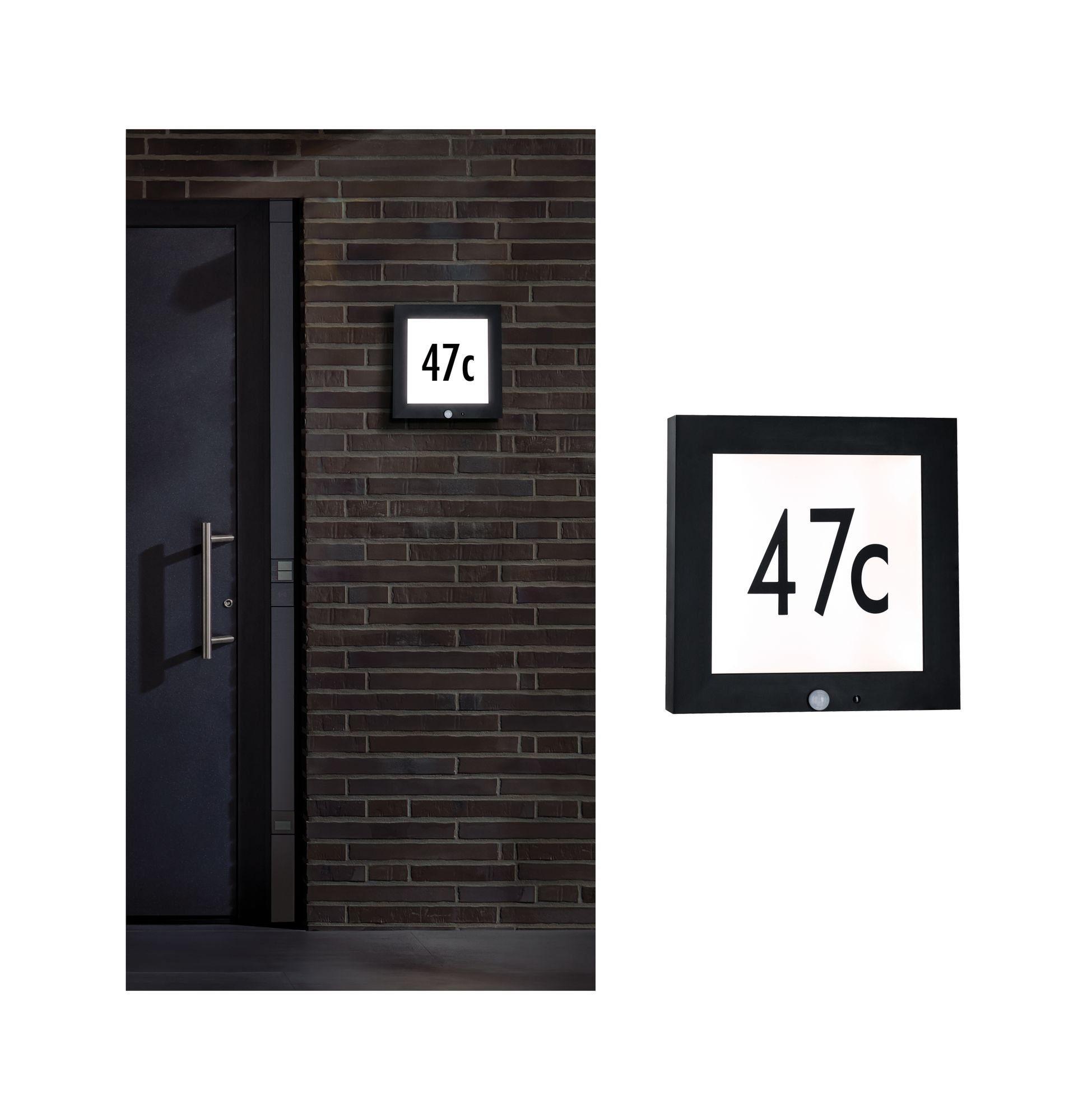 Paulmann LED Außen-Wandleuchte Panel 30x30 cm IP44 11W 230V Anthrazit Hausnummer mit Bewegungsmelder, 1 St., Warmweiß
