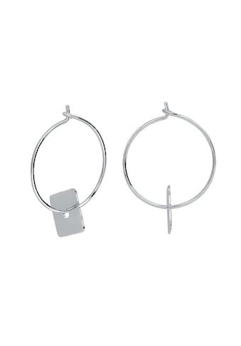 Vivance Paar Creolen »925 Silber rhodiniert glanz«, mit Quadrat Einhänger kaufen