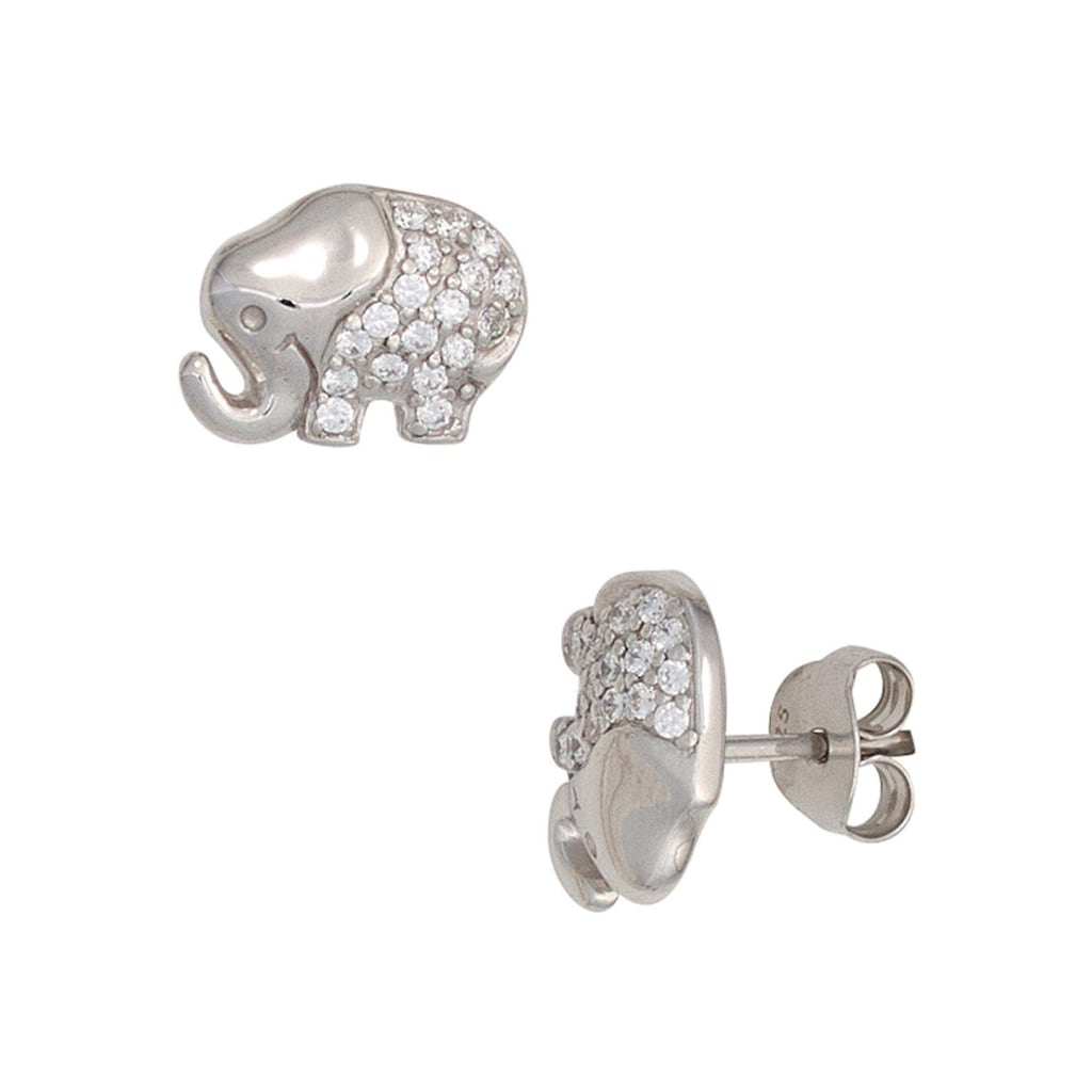 JOBO Paar Ohrstecker »Elefant«, 925 Silber mit Zirkonia