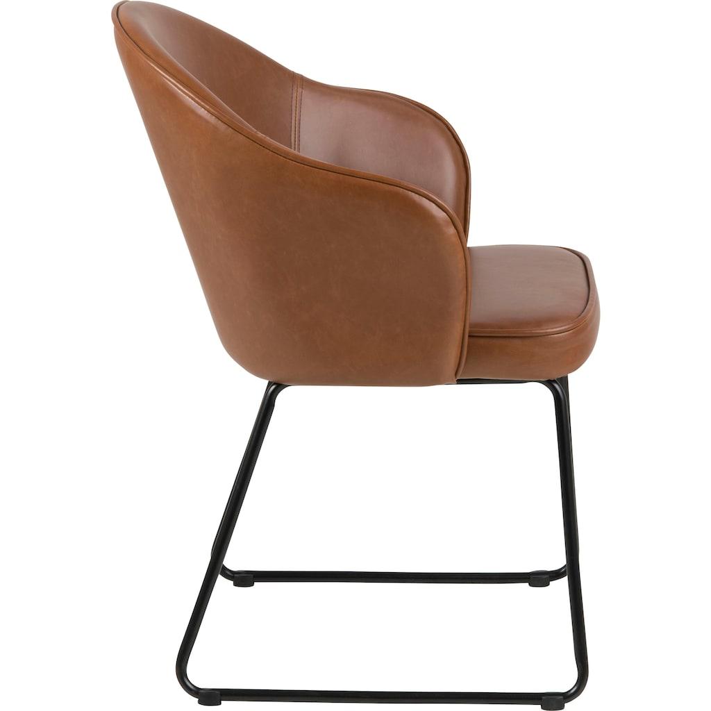 andas Esszimmerstuhl »Minna«, in zwei verschiedenen Bezugsqualitäten, mit schwarzem schönem Metallgestell, Sitzhöhe 47 cm