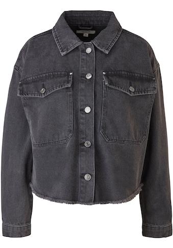Comma Jeansjacke, mit Fransenkante am Saum, aus robustem Baumwoll-Denim kaufen