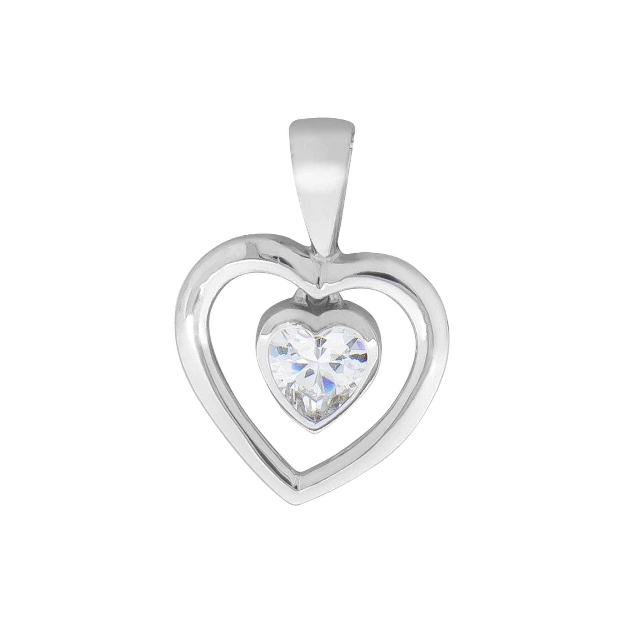 vivance -  Herzanhänger 925 Silber rhodiniert mit Zirkonia, mit Geschenketui