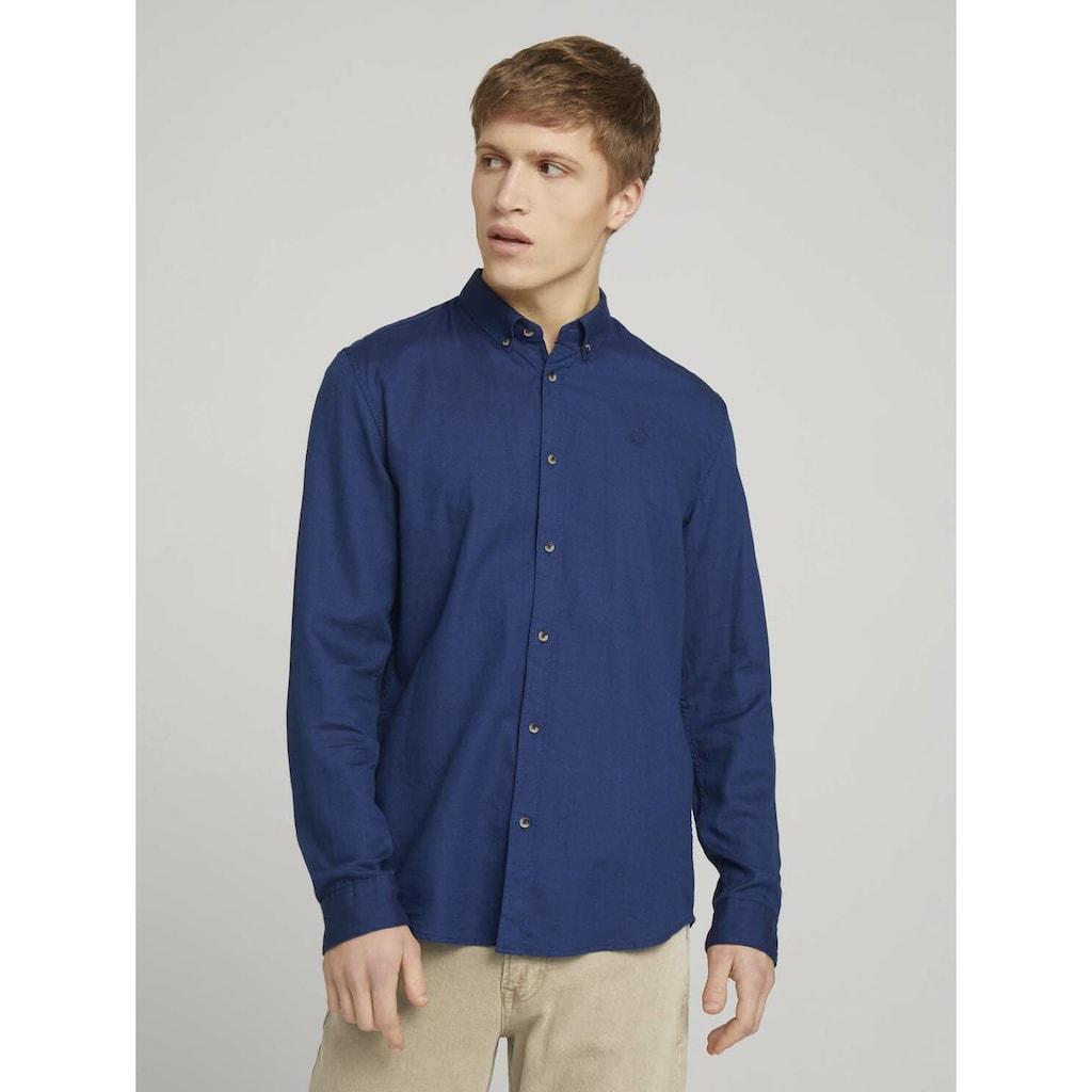 TOM TAILOR Denim Langarmhemd »strukturiertes Hemd mit Bio-Baumwolle«