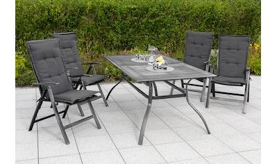 MERXX Gartenmöbelset »Delphi«, (5 tlg.), 4 Sessel mit ausziehbarem Tisch kaufen
