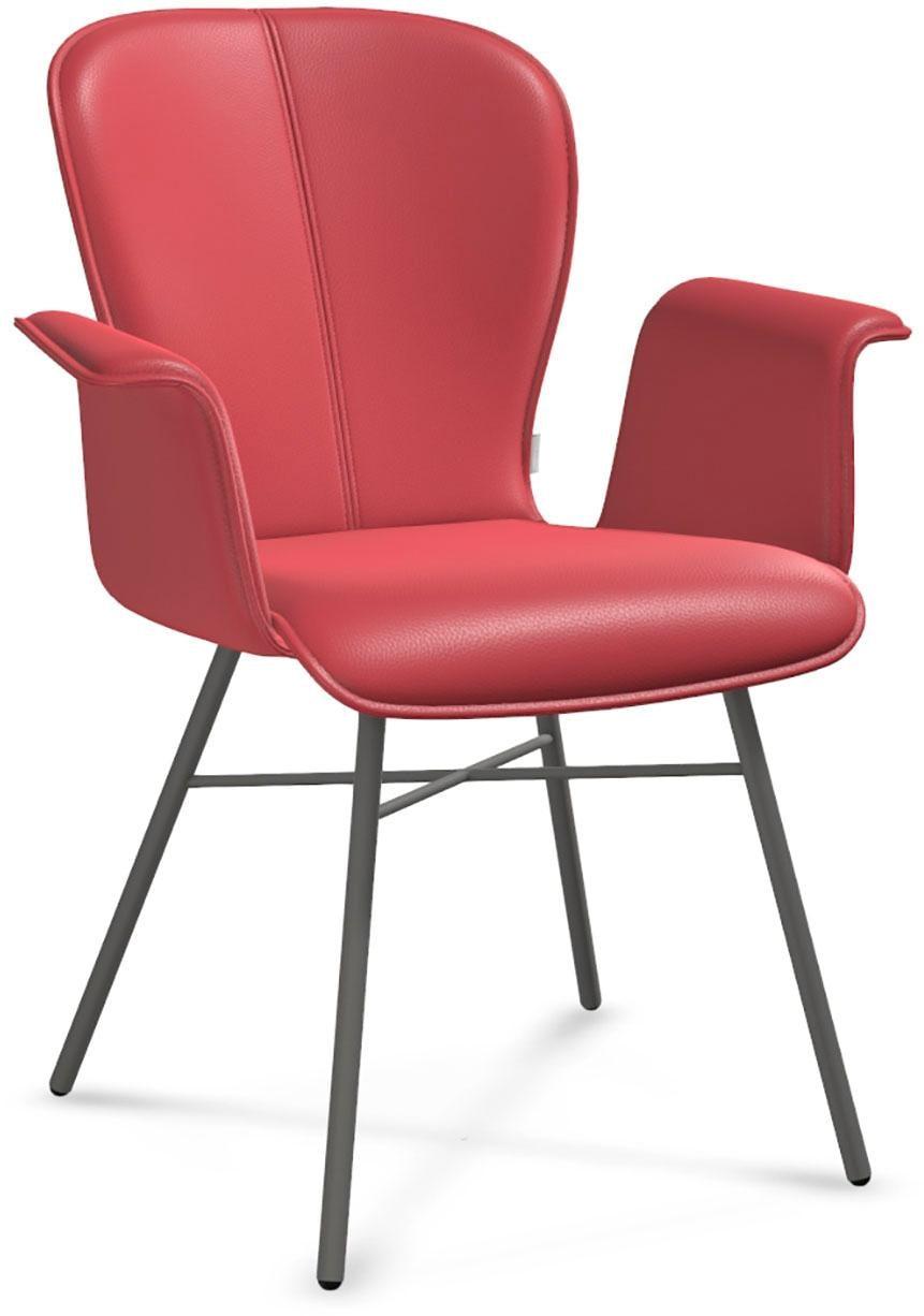 bert plantagie Esszimmerstuhl BLAKE FOUR 632A mit Armlehne in Leder Gestell aus Metall in anthrazit   Küche und Esszimmer > Stühle und Hocker > Esszimmerstühle   Rot   Leder   Bert Plantagie