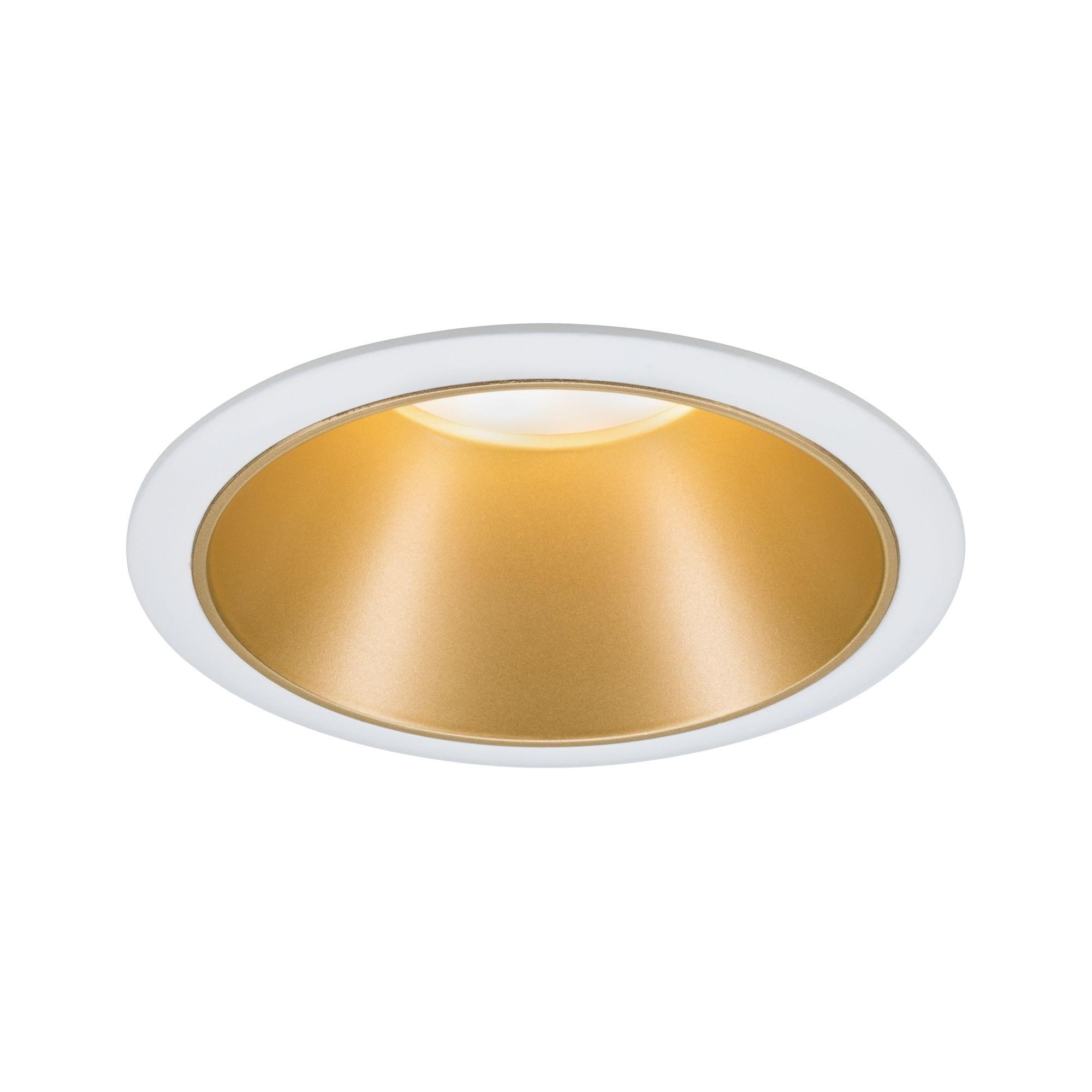 Paulmann LED Einbaustrahler Cole 6,5W Weiß/Gold matt 3-Stufen-dimmbar 2700K Warmweiß, Warmweiß