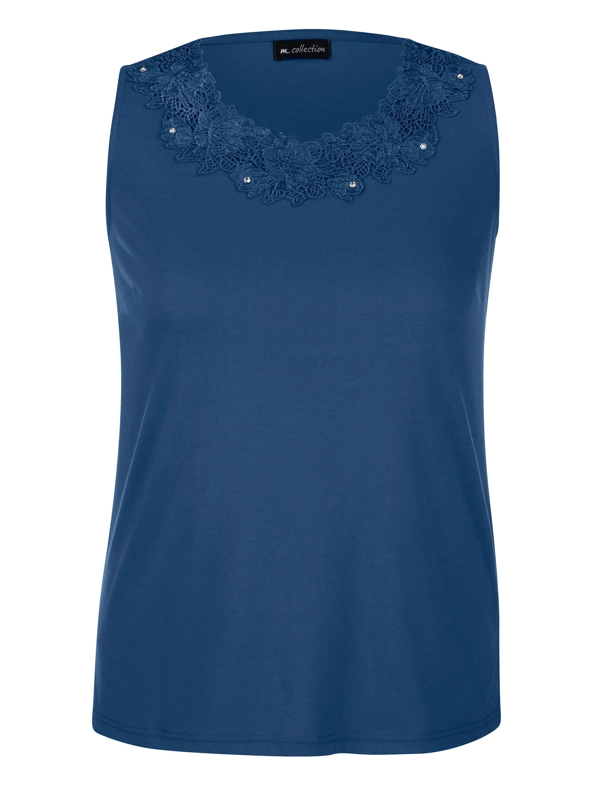 m. collection Spitzentop, mit schöner Spitze blau Damen Spitzentops Tops Spitzentop