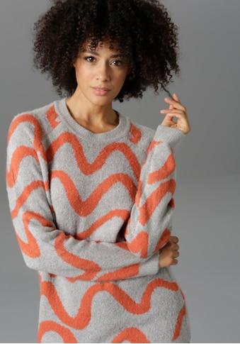 Aniston CASUAL Rundhalspullover, mit trendigem Wellen-Muster kaufen