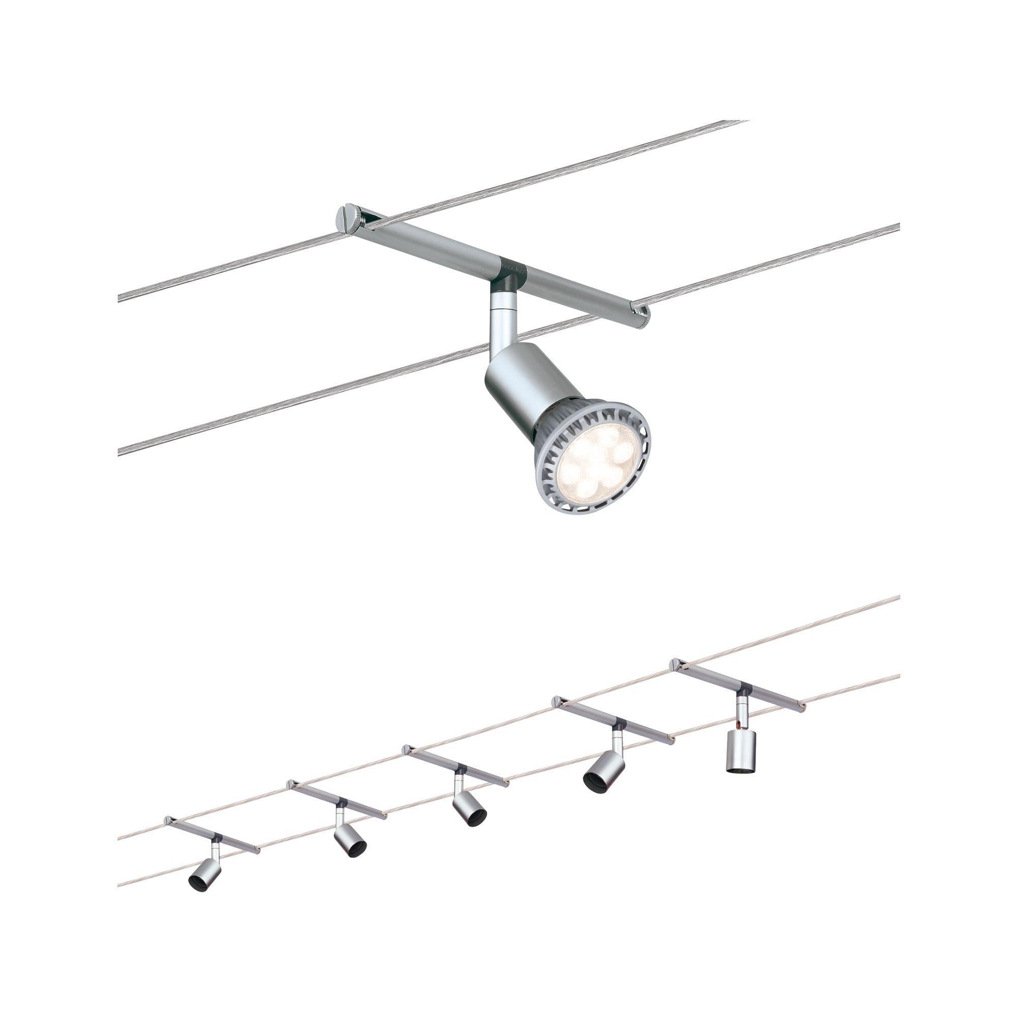 Paulmann LED Deckenleuchte Seilsystem Salt Chrom matt mit 5 Spots max. 10W GU5,3, GU 5,3, 1 St.