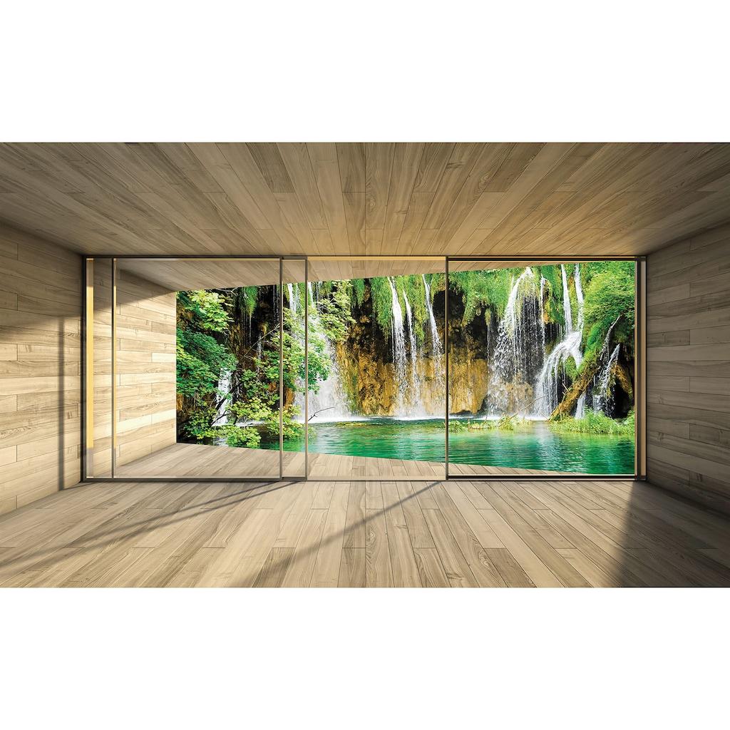 Consalnet Vliestapete »Wasserfall Terrasse«, verschiedene Motivgrößen, für das Büro oder Wohnzimmer