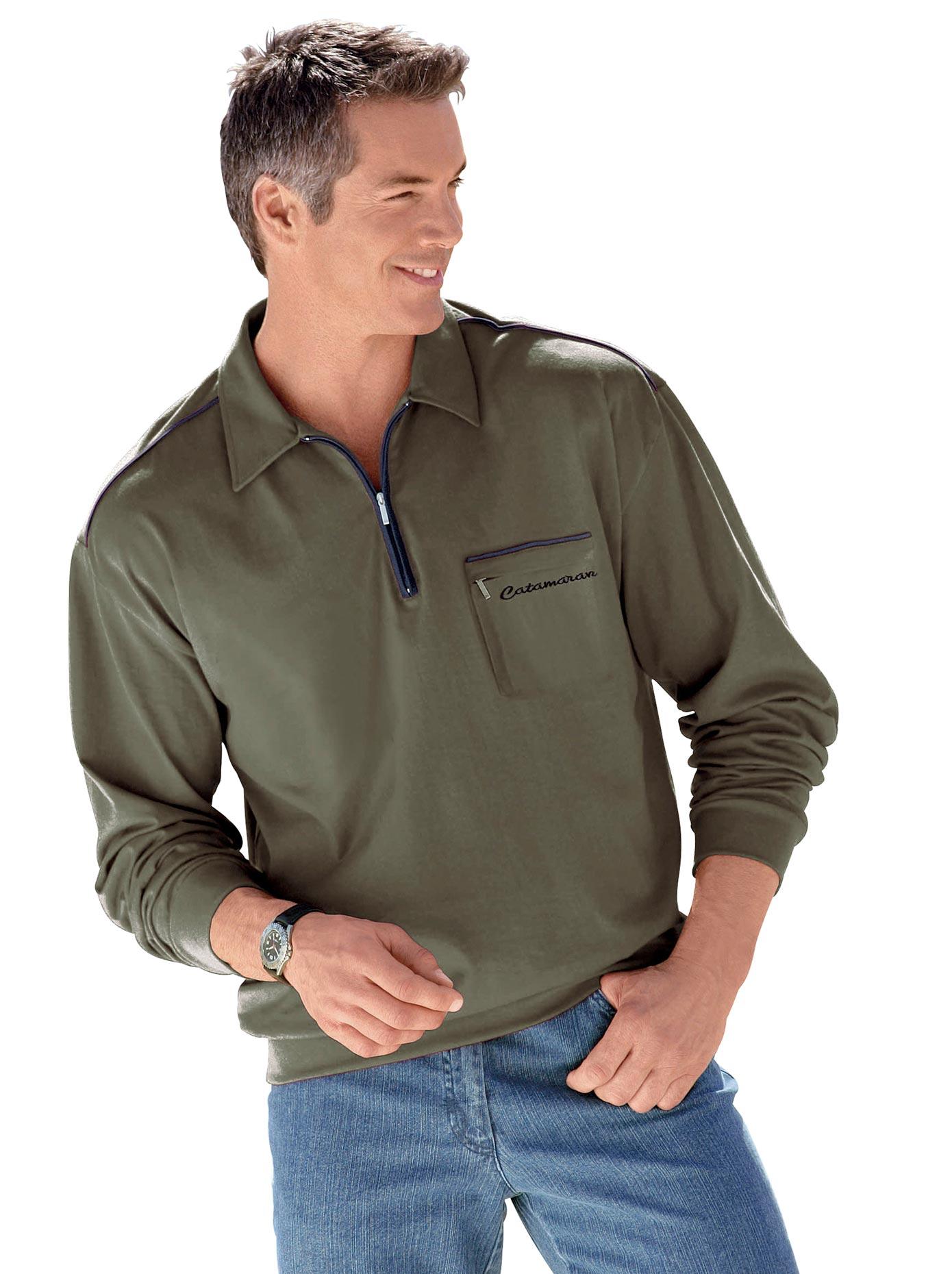 Marco Donati Langarm-Poloshirt mit kontrastfarbigen Akzenten | Bekleidung > Shirts > Langarm Shirts | Grün | Marco Donati