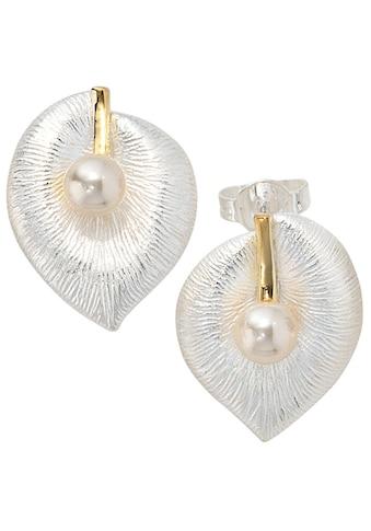 JOBO Perlenohrringe »Blatt«, 925 Silber bicolor vergoldet 2 Süßwasser Perlen kaufen