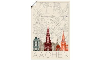 Artland Wandbild »Retro Karte Aachen«, Deutschland, (1 St.), in vielen Größen &... kaufen
