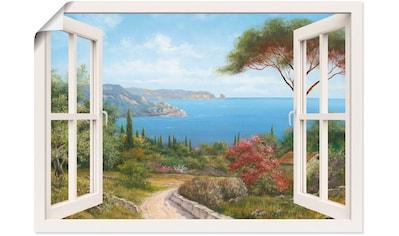 Artland Wandbild »Fensterblick - Haus am Meer I«, Fensterblick, (1 St.), in vielen... kaufen