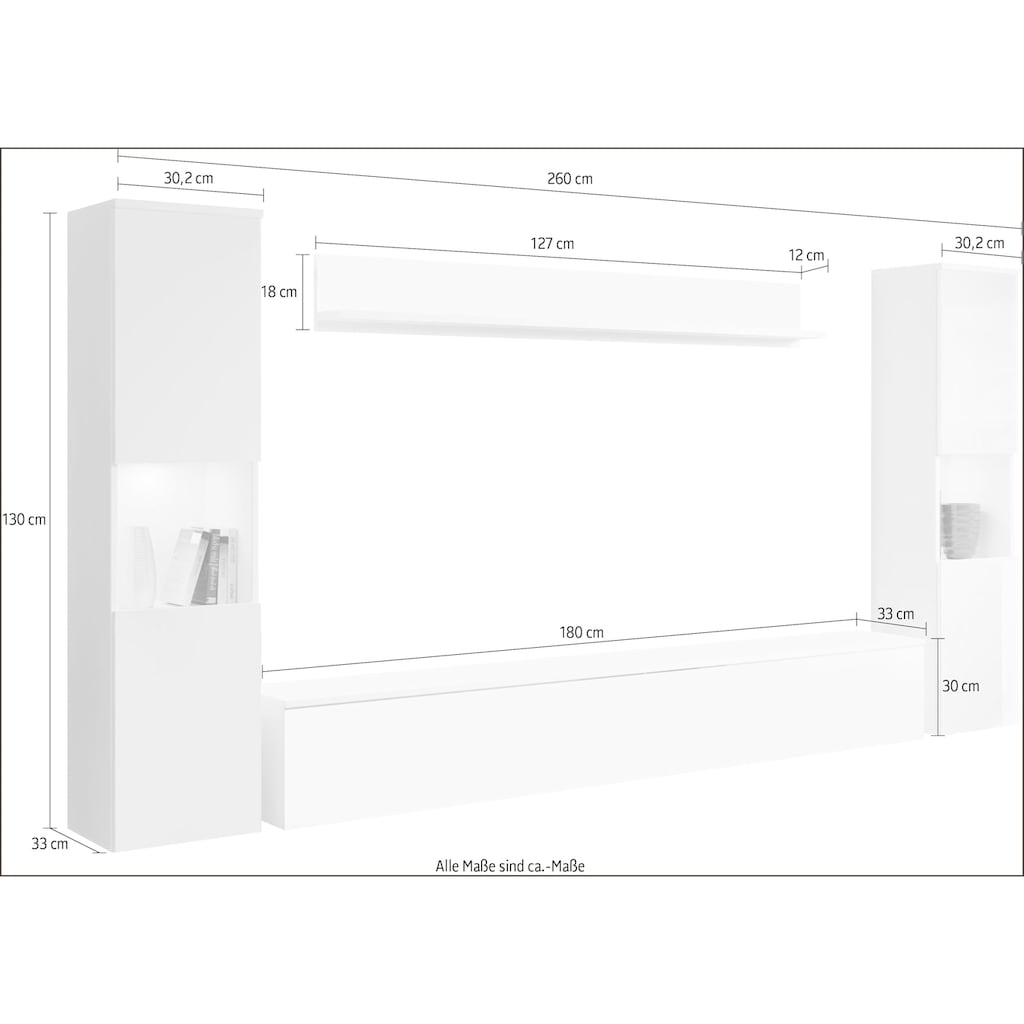 my home Wohnwand »PARIS«, (Set, 4 St.), hängend und stehend montierbar