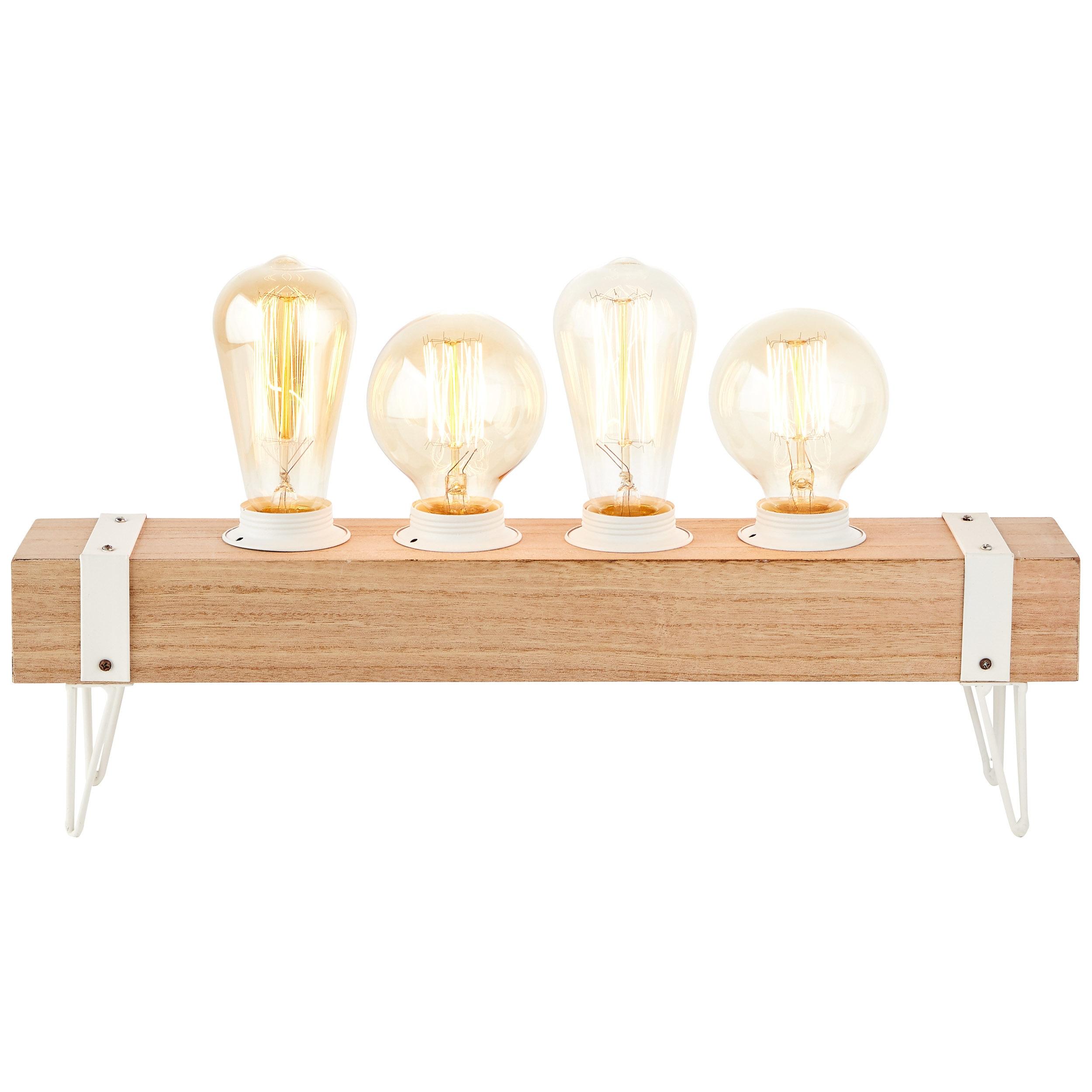 Brilliant Leuchten White Wood Tischleuchte 4flg beton/holz hellweiß