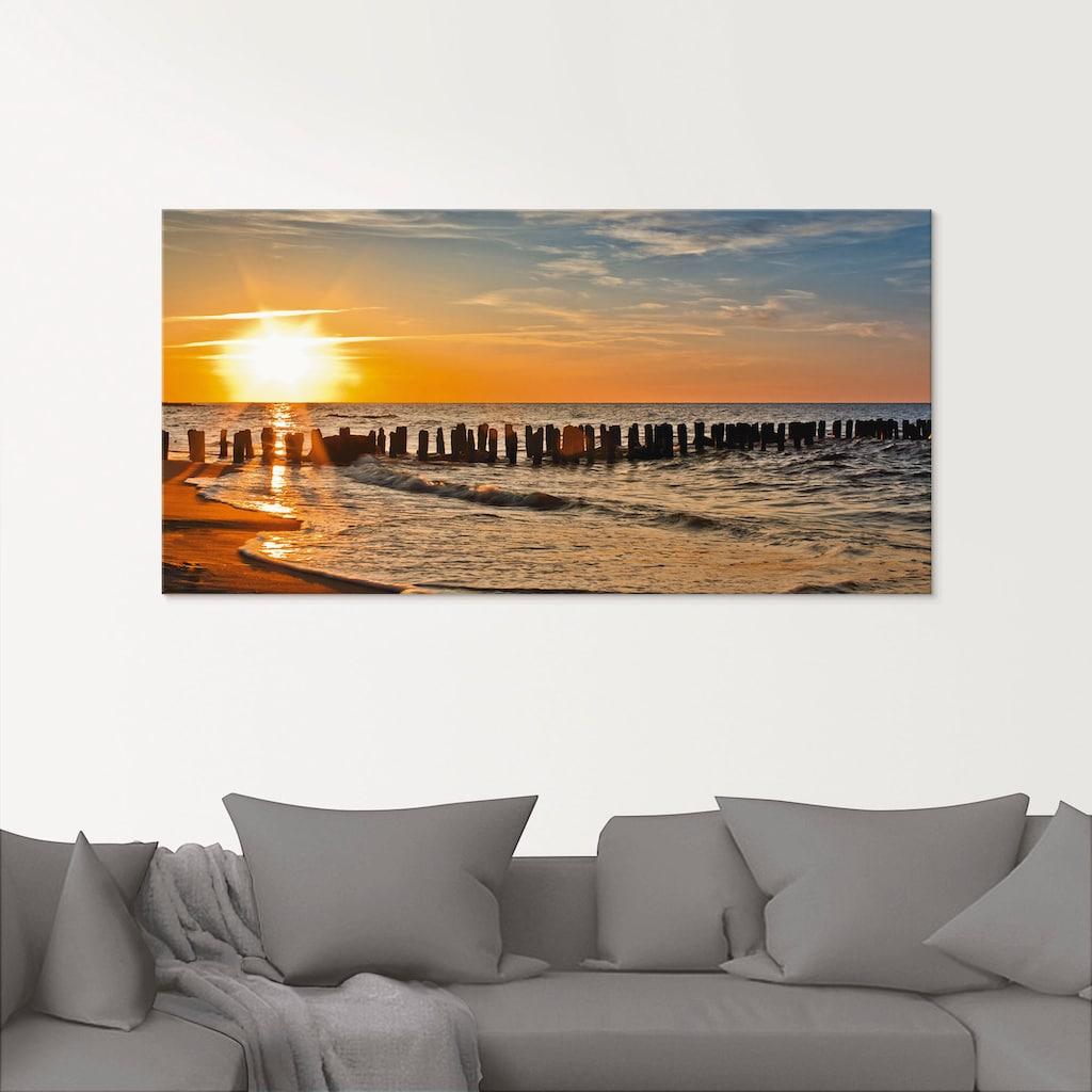 Artland Glasbild »Schöner Sonnenuntergang am Strand«, Strand, (1 St.)