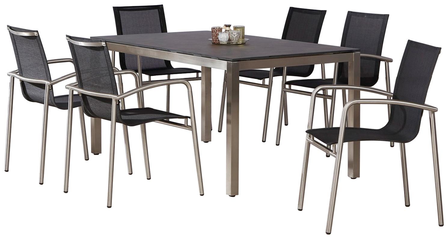 BEST Gartenmöbelset Khartum 6 Sessel Tisch 210x90 cm