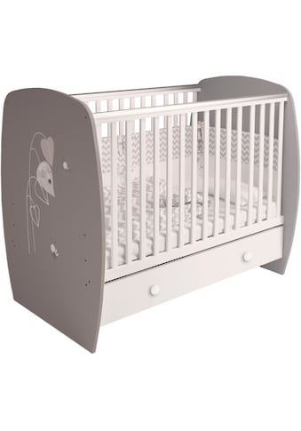Polini kids Babybett »French 710 Amis, weiß-grau«, mit Bettschubkasten kaufen