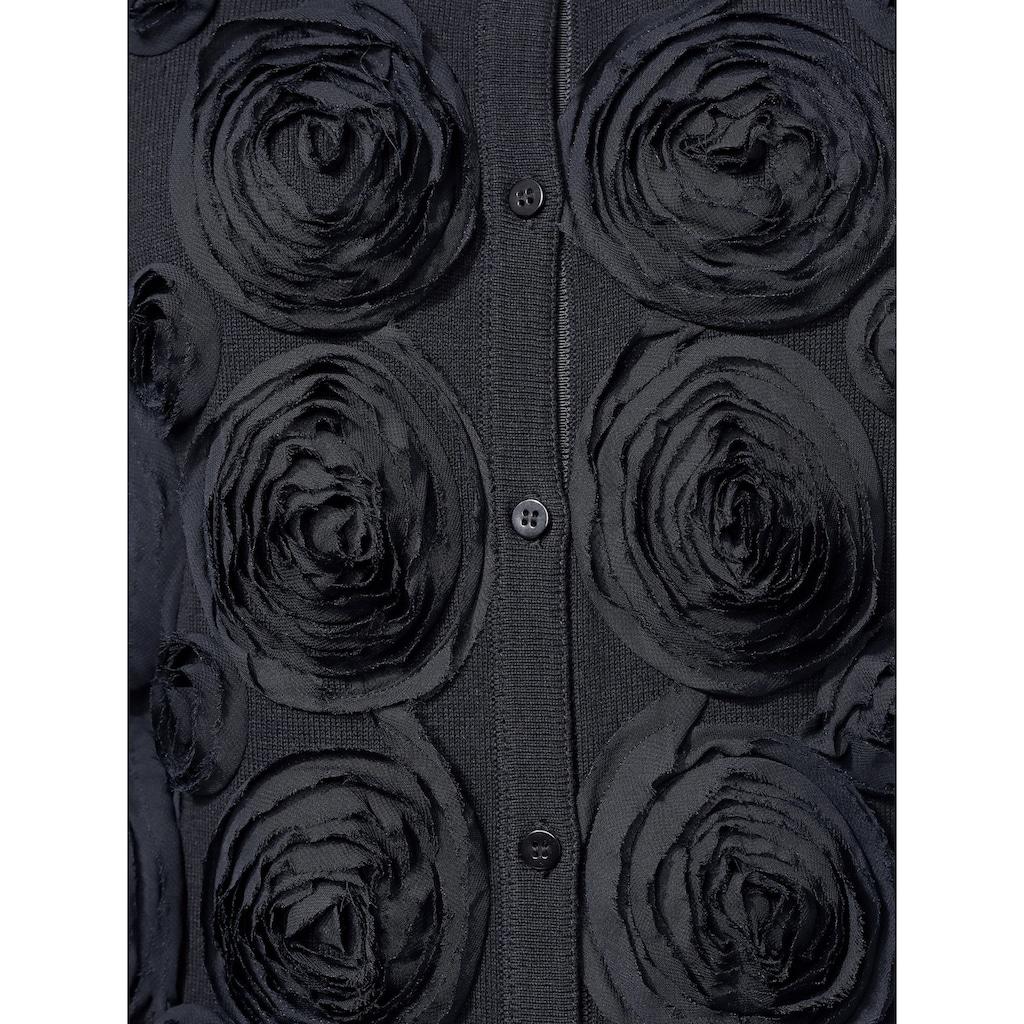 Alba Moda Strickjacke mit dekorativen Web Blumen verziert