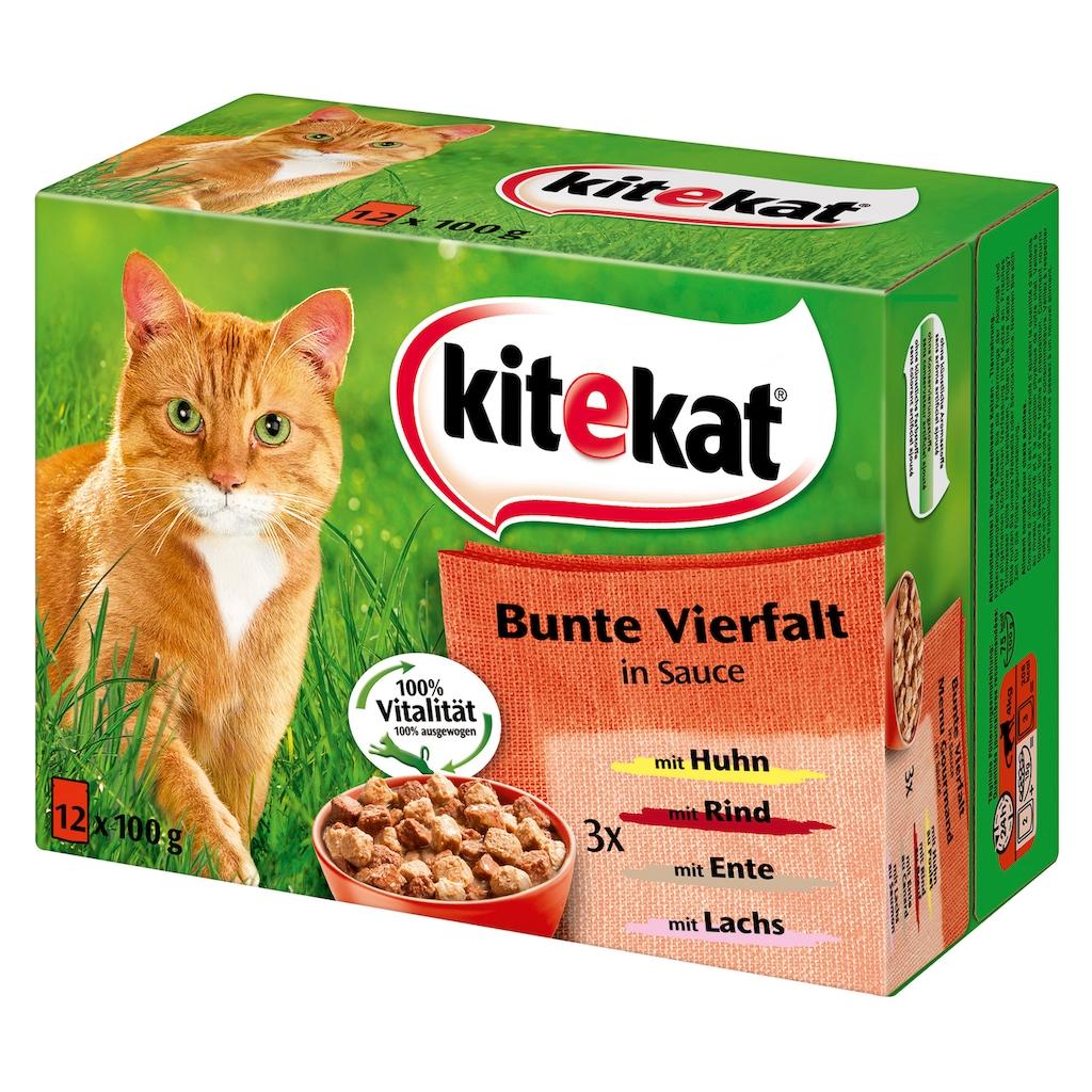 Kitekat Set: Katzennassfutter »Bunte Vielfalt in Sauce«, 4 Pakete mit je 12 Beuteln á 100 g