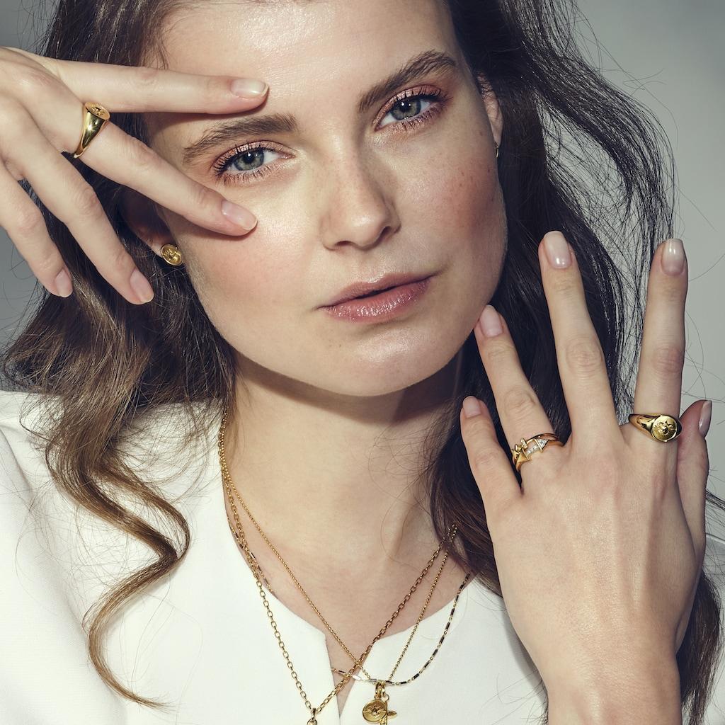 CAÏ Fingerring »925/- Silber vergoldet Taube«, Ring