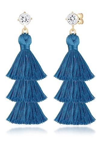 Elli Paar Ohrhänger »Tassel Blau Geo Kristalle 925er Silber« kaufen