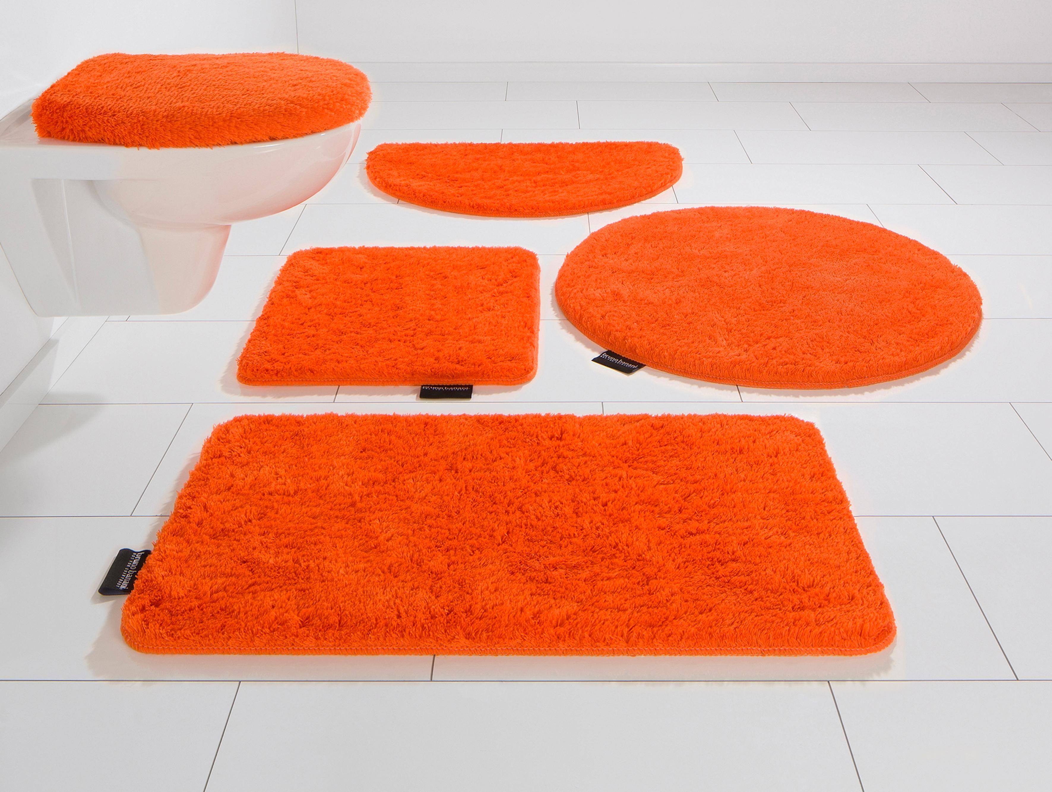 Badematte Lana Höhe 25 mm rutschhemmend beschichtet fußbodenheizungsgeeignet orange 1 (rechteckig 55x50 cm),2 (rechteckig 50x90 cm),3 (rechteckig 60x100 cm),4 (rechteckig 70x110 cm),5 (rechteckig 80x150 cm),6 (rechteckig 90x160 cm)