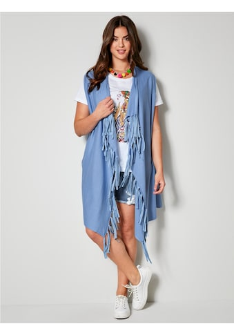Angel of Style by HAPPYsize Strickweste mit Fransendetails kaufen