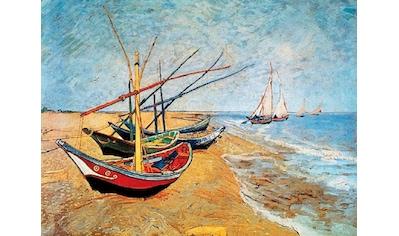 Home affaire Deco-Panel »V.VAN GOGH / Barche sulla spiaggia«, 80/60 cm kaufen