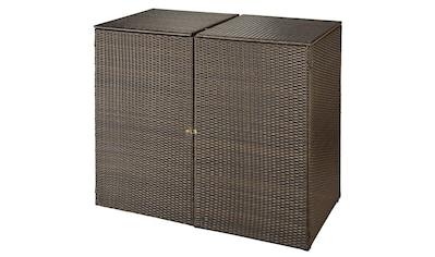 HANSE GARTENLAND Mülltonnenbox, für 2x240 l aus Polyrattan, BxTxH: 150x78x123 cm kaufen