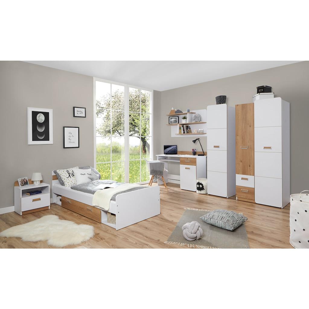 Ticaa Jugendzimmer-Set »Lori«, (Set, 6 St.), Bett + Schrank + Schreibtisch + Standregal + Wandregal + Nachttisch