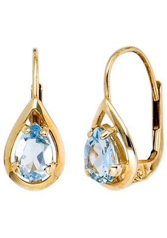 JOBO Paar Ohrhänger, Tropfen 333 Gold mit Blautopas kaufen