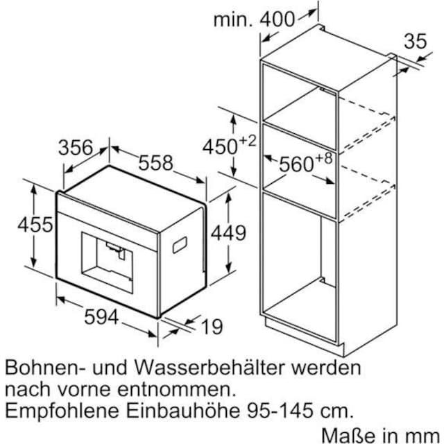 SIEMENS Einbau-Kaffeevollautomat CT636LES6, 2,4l Tank, Scheibenmahlwerk