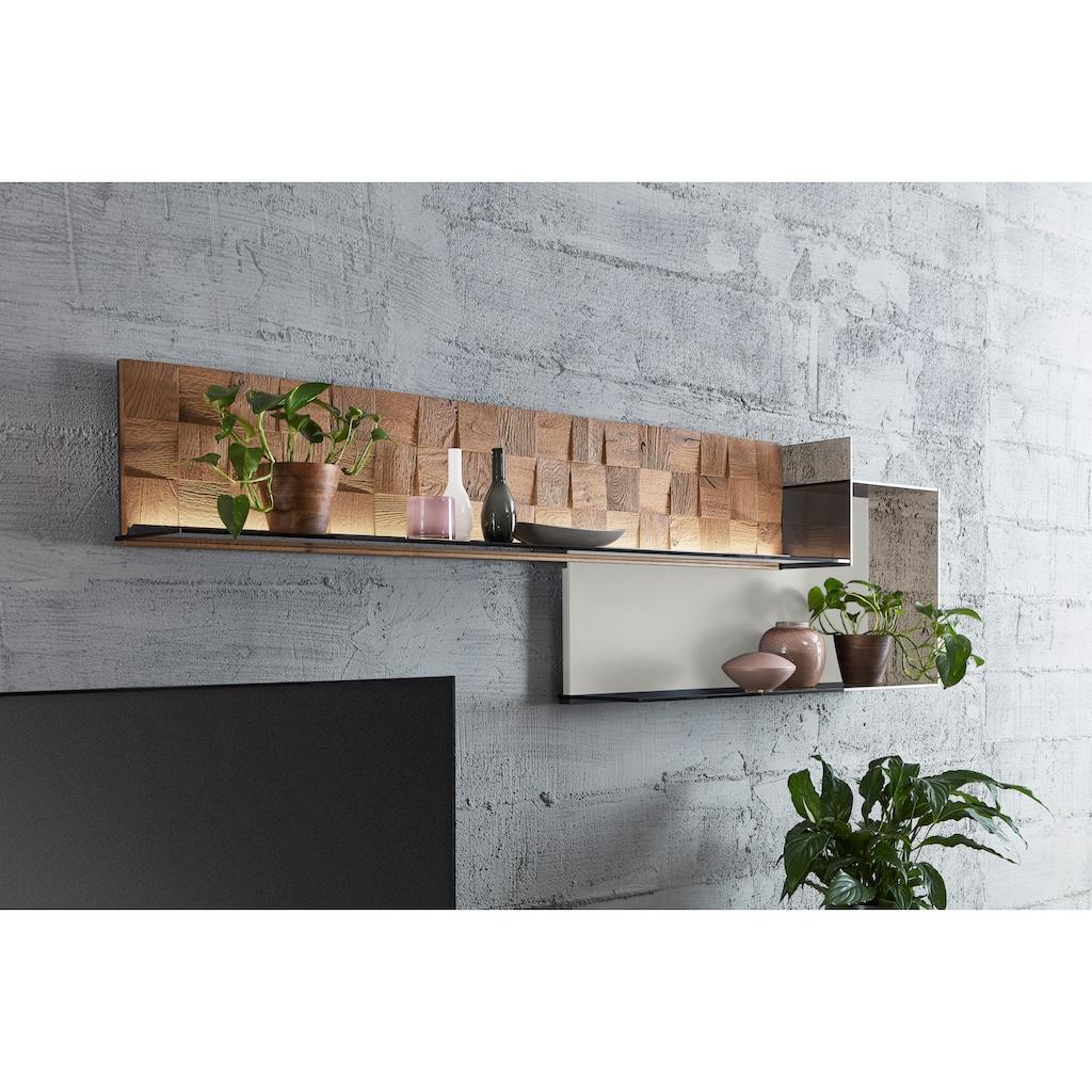 LEONARDO Wohnzimmer-Set »LIV«, (4 St.), Massivholzkacheln enthalten, mit Wandpaneel, in Mattglas grau