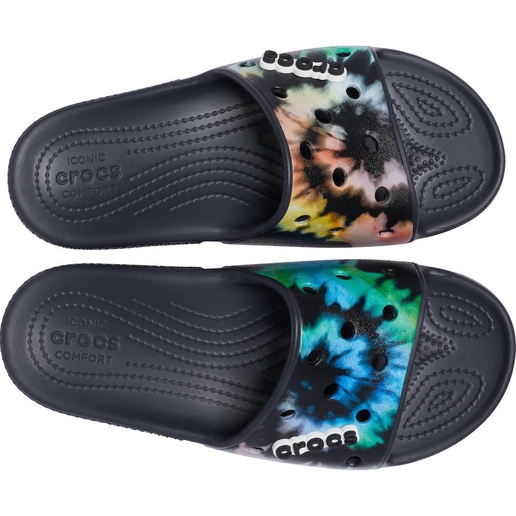 Crocs Badepantolette »Classic Crocs Tie Dye Graphic Sld.«, mit Batik-Muster