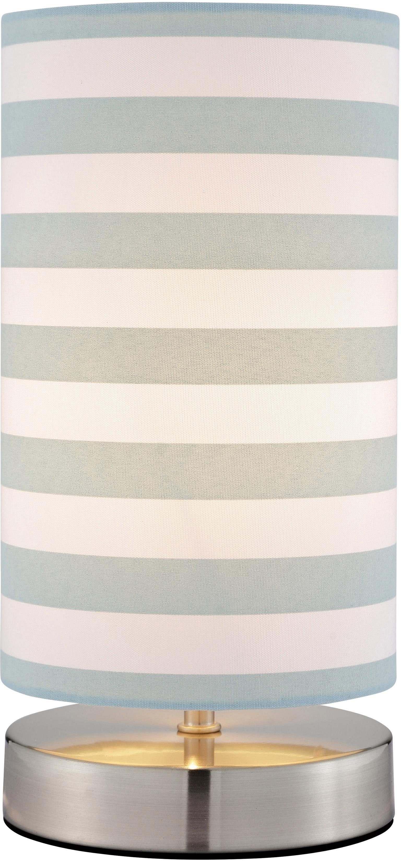 Lüttenhütt Tischleuchte Striepe, E14, Tischlampe mit Streifen - Stoffschirm Ø 12 cm, blau / weiß gestreift, Touch Dimmer