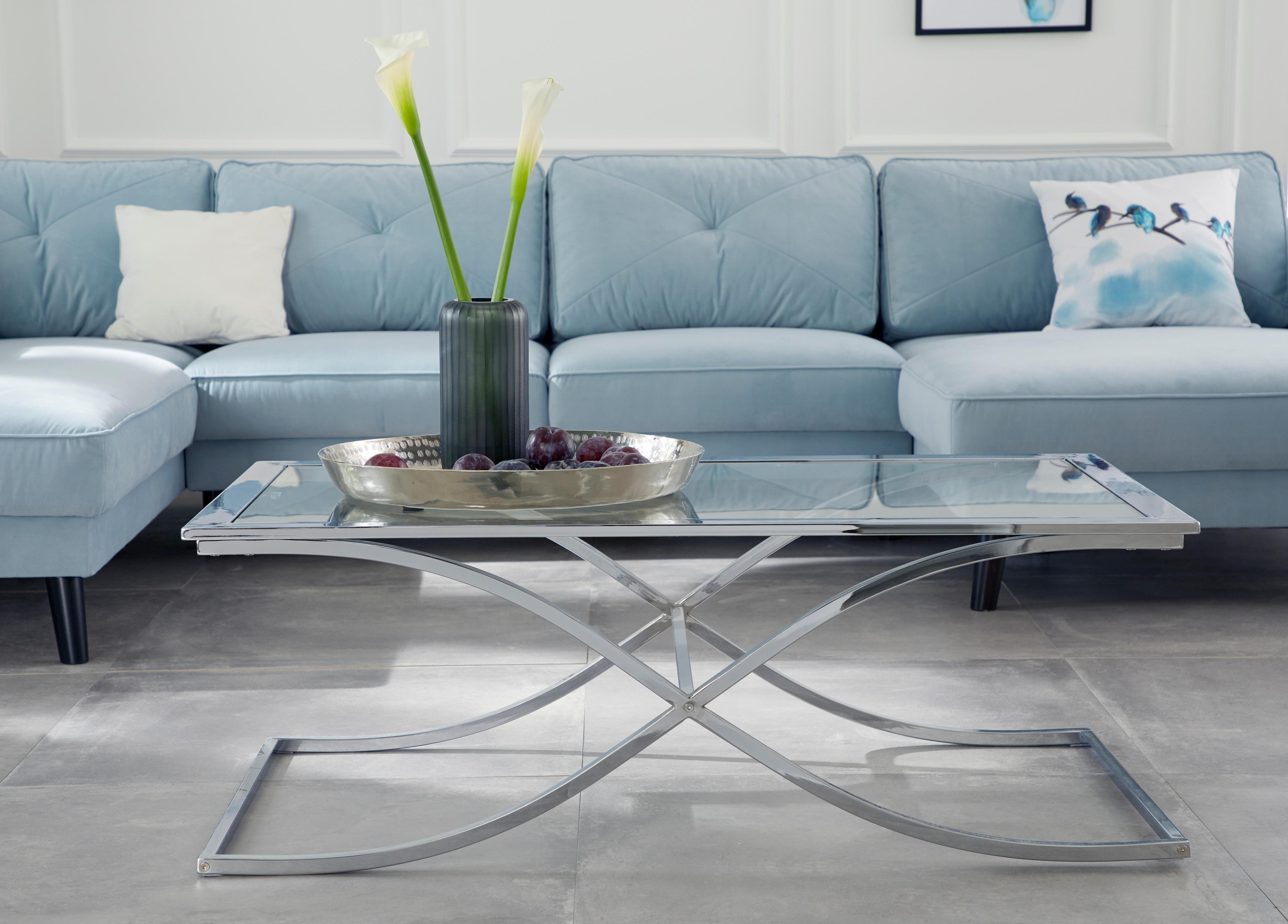 GMK Home & Living Couchtisch »Ballum«, mit edlem Metallgestell und Glasplatte, Breite 120 cm
